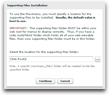 Supporting files dialog